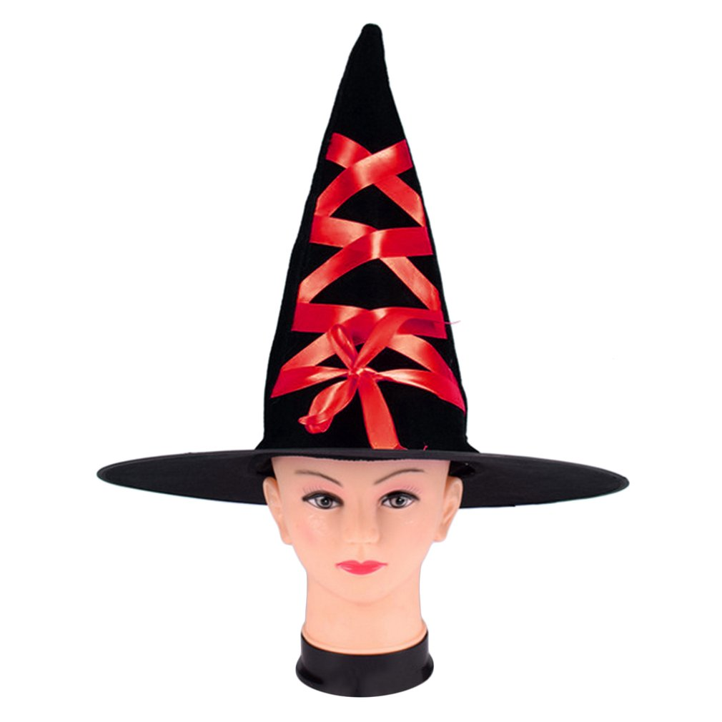Halloween Corduroy Witch Hat With Ribbon For Cosplay Masquerade Parties