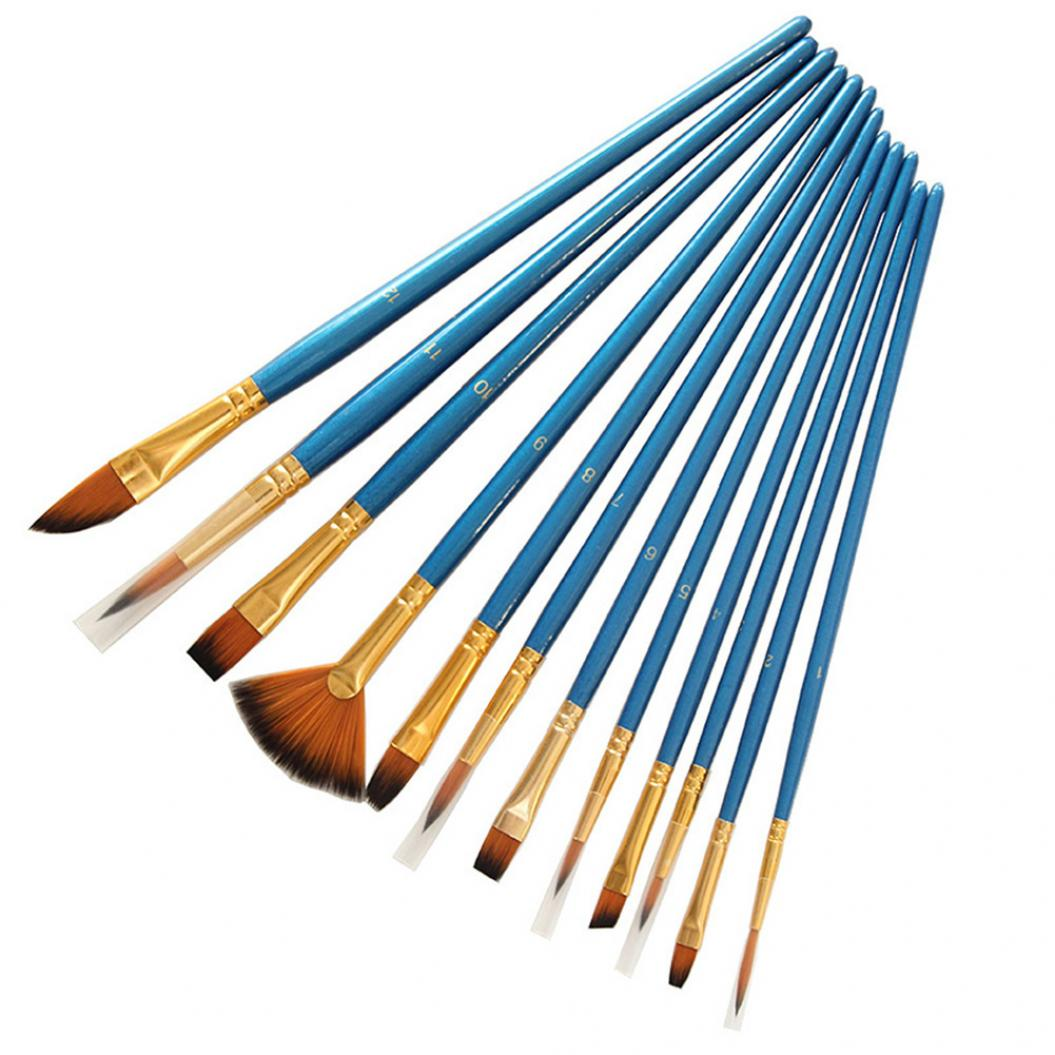 12Pcs Wooden Nylon Hair Watercolor Paint Brush Pen Student School Art Supplies