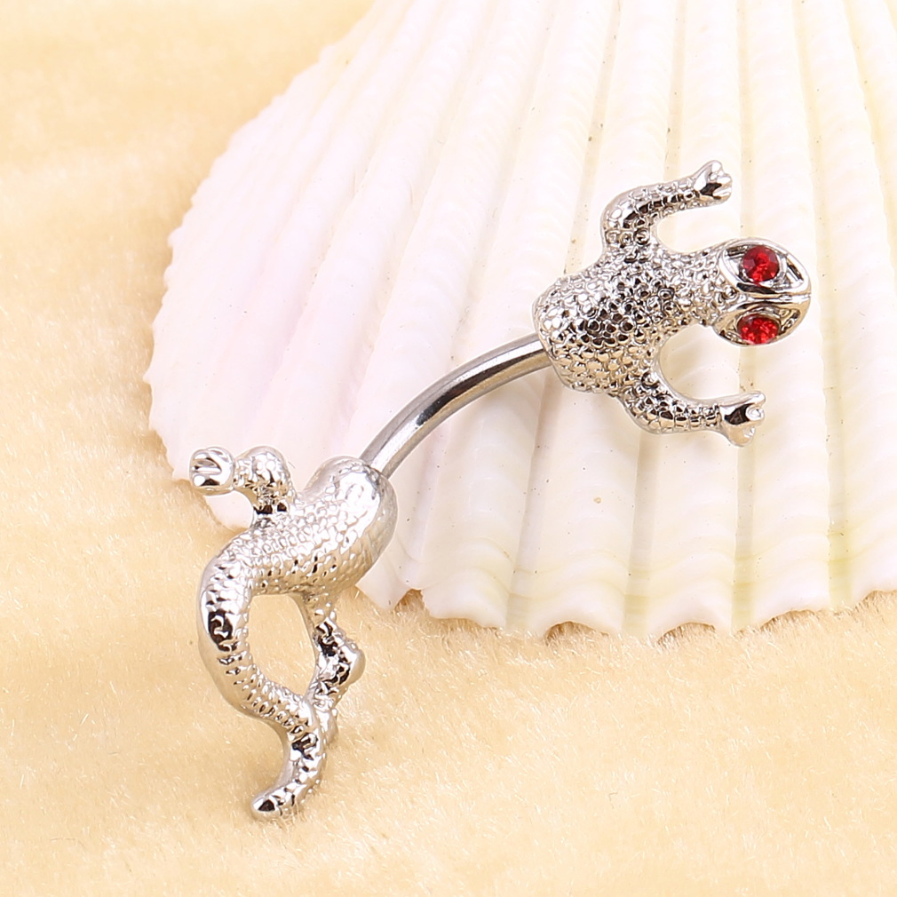 Silver Lizard shape Navel ring Screw Unisex Man Woman fashion new