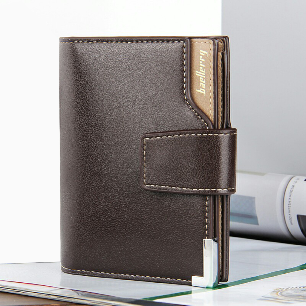 Men's Vertical Casual Buckle Multifunction PU Leather Three Folding Wallet