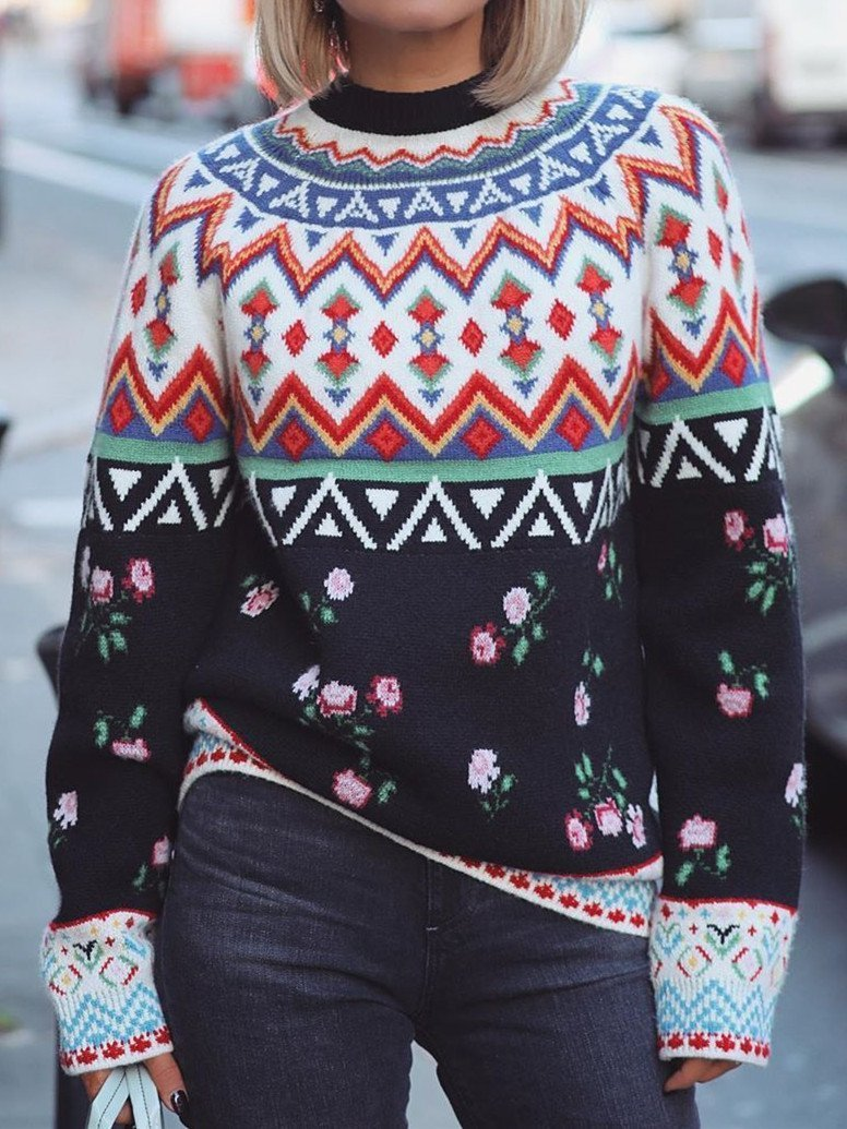 Multicolor Cotton-Blend Casual Round Neck Sweater