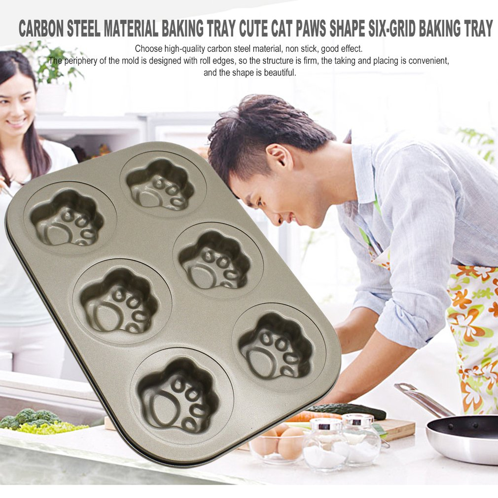 Carbon Steel Material Baking Tray Cute Cat Paws Shape Six-Grid Baking Tray