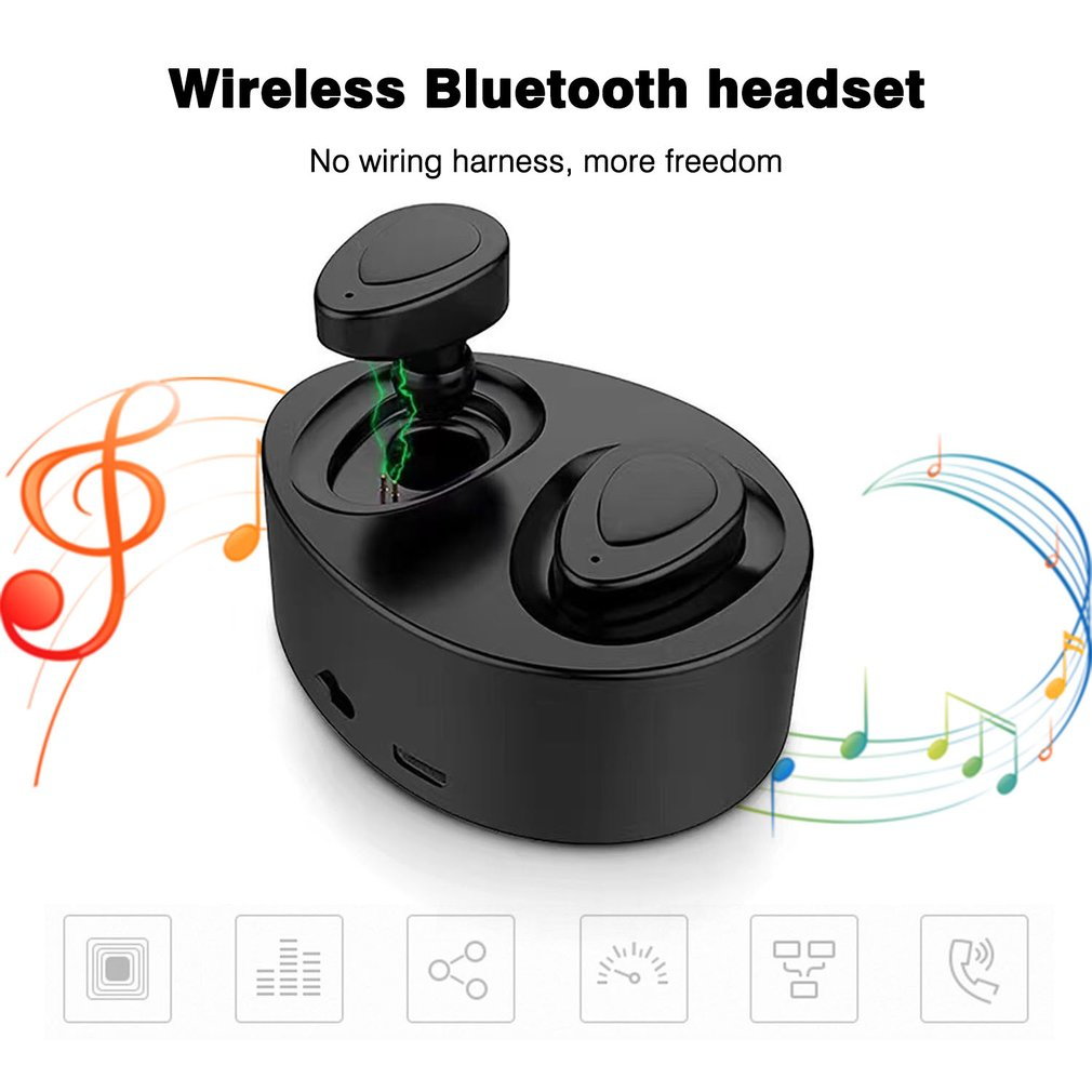 TWS-K2 In-ear Bluetooth 4.1 Headset Wireless Earphone With Mic Charger Box