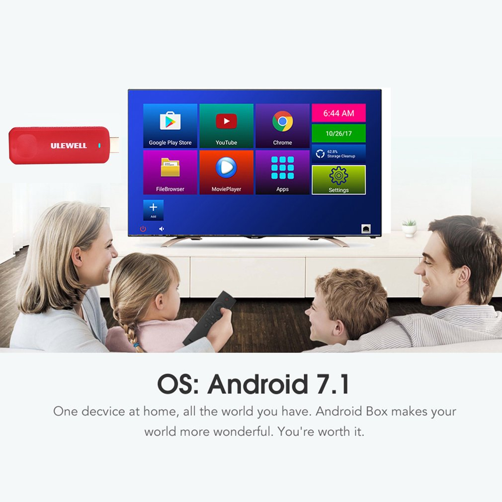 ULEWELL Z28 Mini TV Dongle H.265 4K Handheld TV Stick for Android 7.1 OS