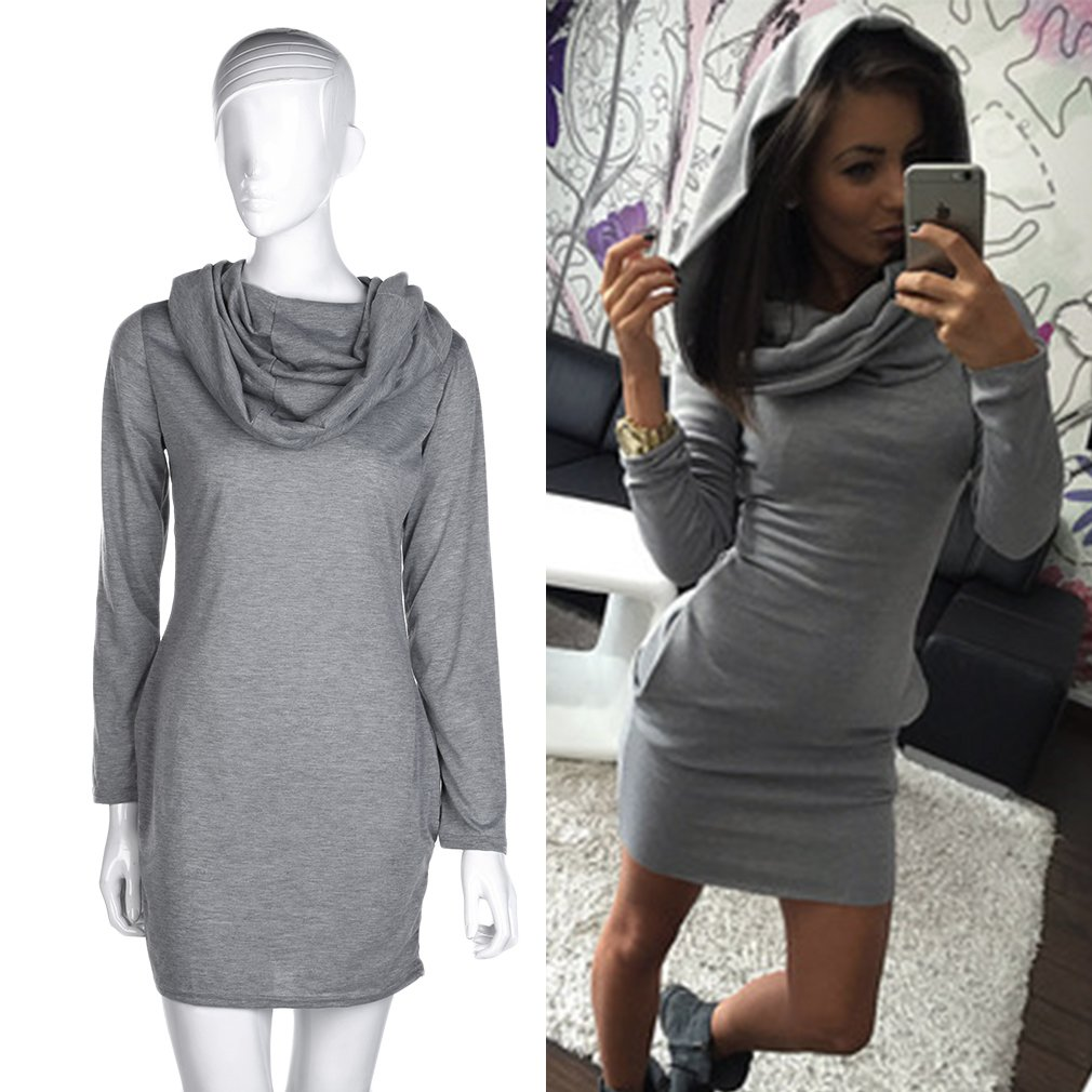 Women Cowl Neck Long Sleeves Pullover Bodycon Dress Spring Autumn Warm