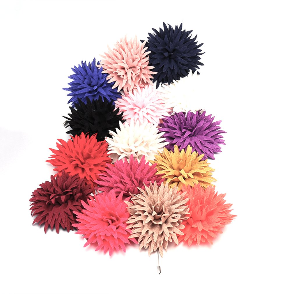 Chrysanthemum Flower Boutonniere Brooch Corsage Lapel Prom Men's Accessories