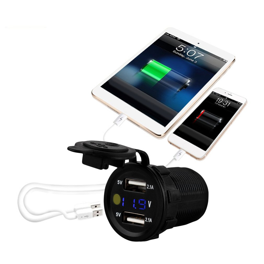 4.2A Dual USB Car Charger Waterproof Motorcycle/Vehicle/Auto/Car Power Adapter