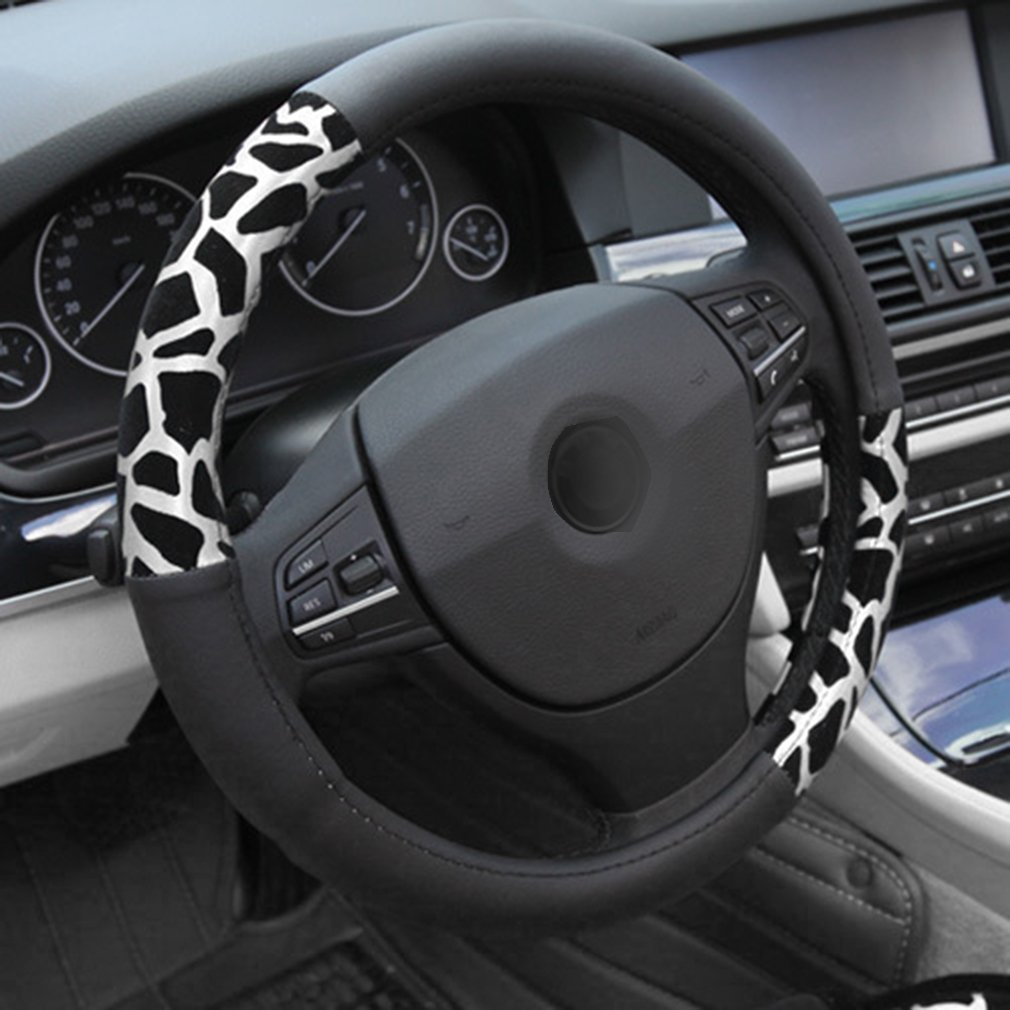 New Winter Warm Leopard Print Auto Car Steering Wheel Cover Shell 38cm