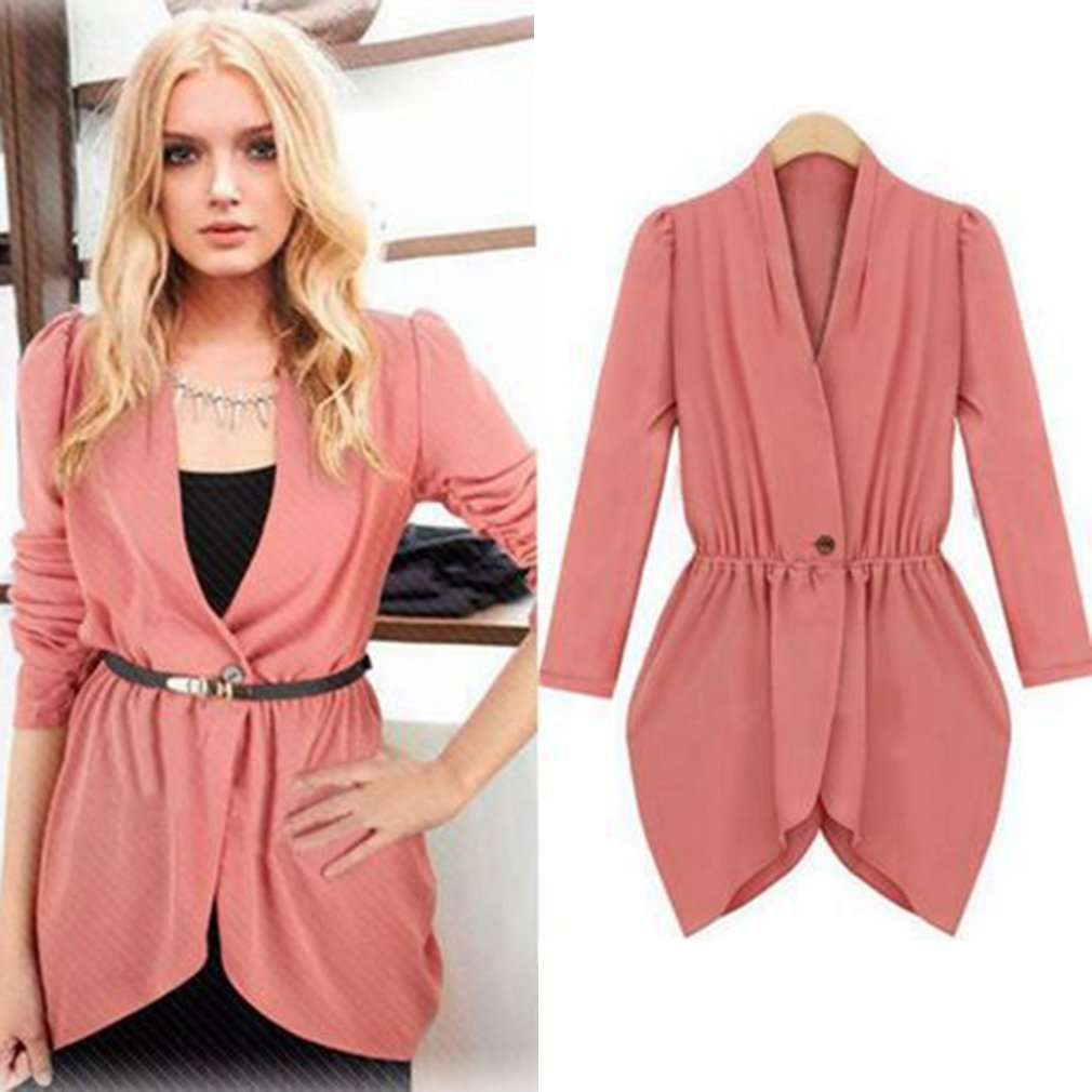 New Women's Elastic Waistband an Irregular Buckle Small Suit Jacket