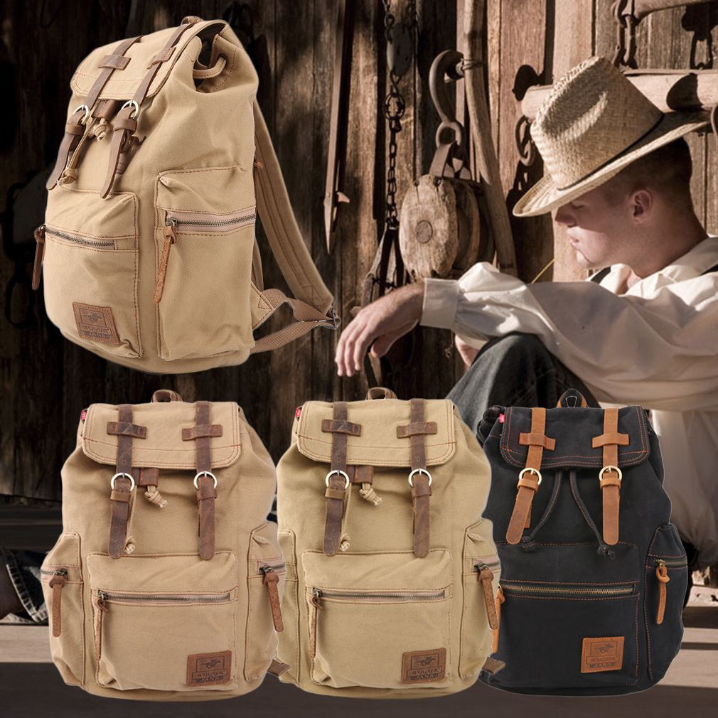 Men's Vintage Canvas Hiking Travel Military Backpack Satchel Bags New