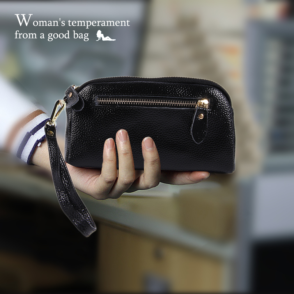 Fashionable Women PU Leather Handbags Solid Color Casual Wallet Storage Bag