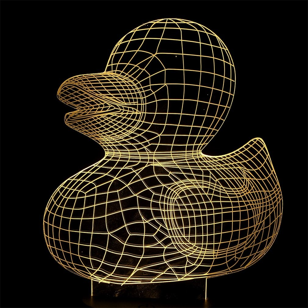 Yellow Duck LED Desk 3D Light Lamp Illusion Night 7 Color Change Table Touch