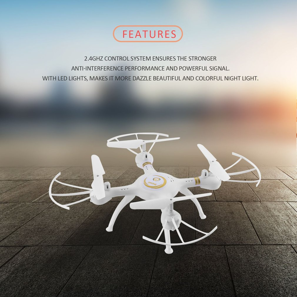 2.4G RC Drone 4-Axis Quadcopter with LED Light 720P HD 2MP Camera Real Time Video Headless Mode Quadcopter Kids Adult Toy