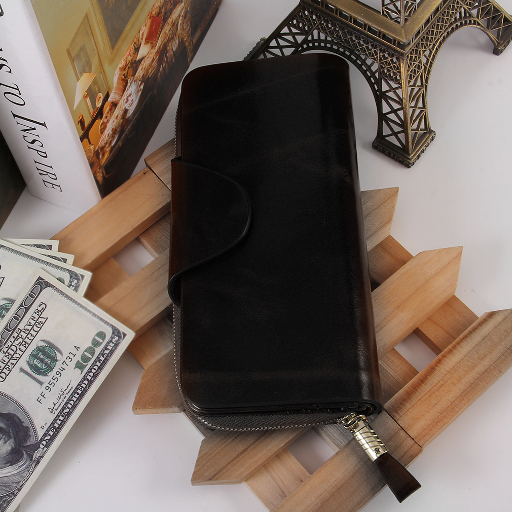 Men Women Adult Long Style PU Leather Solid Color Adult Money Wallet 2082