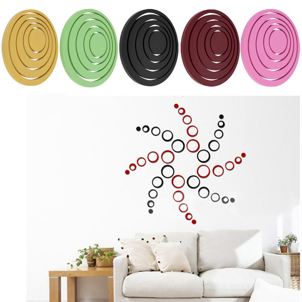 Hot Circles Stickers 5 Rings 3D Wall Art Decals Home Decor Removable Stickers