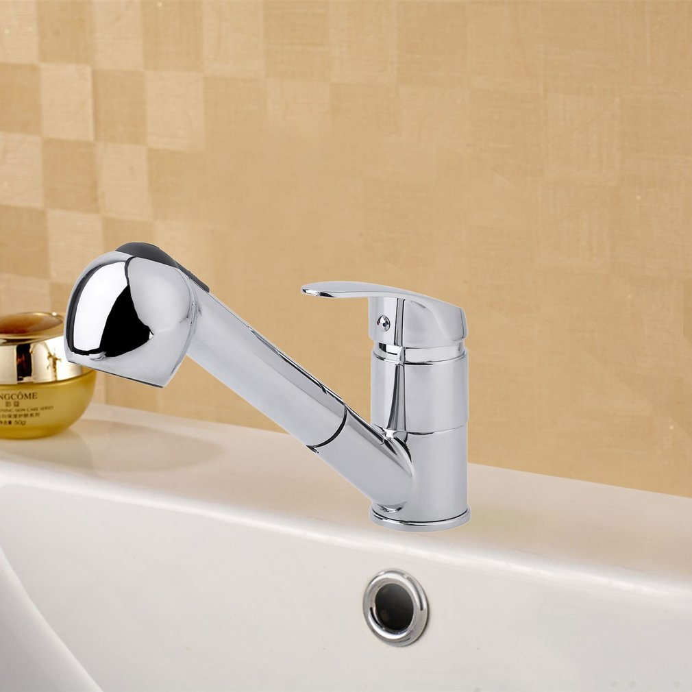 Modern Stainless Steel Pull Out Kitchen Faucets Swivel Spout Faucets Tap
