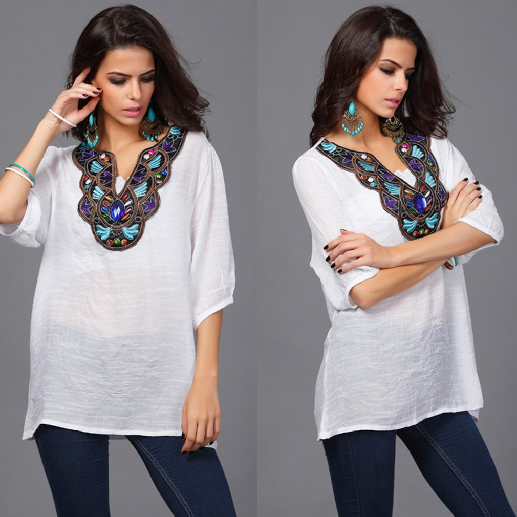 European American Fashion Women Cotton Linen Tops Causal National Style Embroidery Beading Loose Half Sleeve Shirt