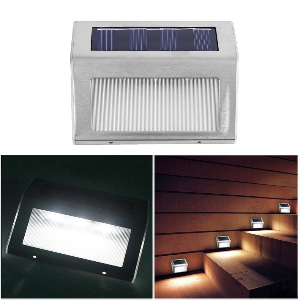 Waterproof Stainless Steel Solar 3 LED Wall Fence Floor Stairs Corner Light