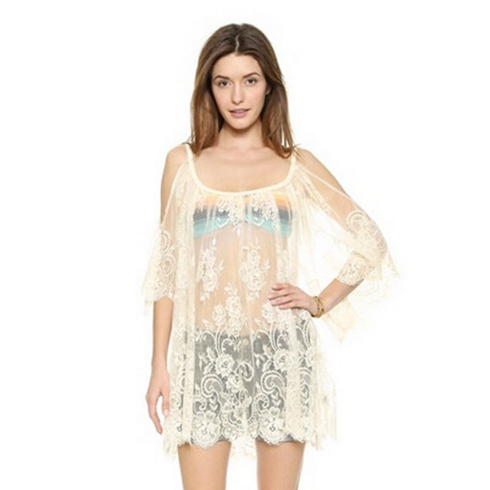 Sexy Women's Vintage Embroidered Floral Lace Crochet Mini Dress
