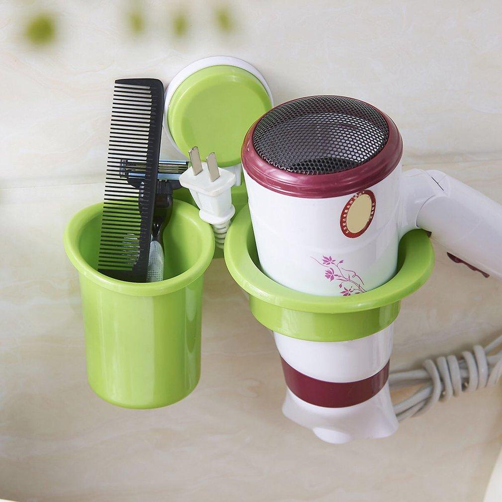 Wall-Mounted Suction Cup Hair Dryer Holder Rack Bathroom Storage Organizer