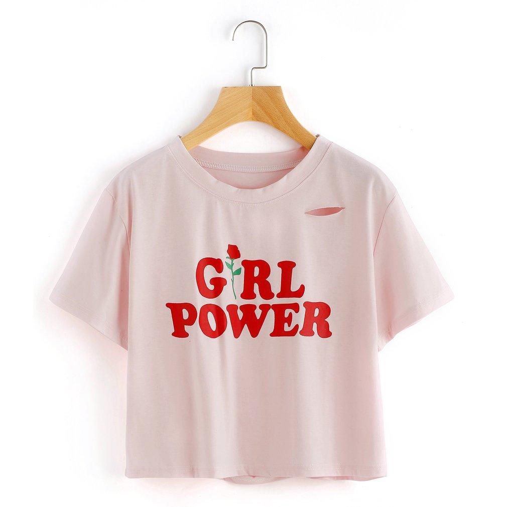 Women Unique Floral Printed Short Sleeve T-Shirt Tops Spring Summer Ladies Broken Hole Decoration Shirt Tops