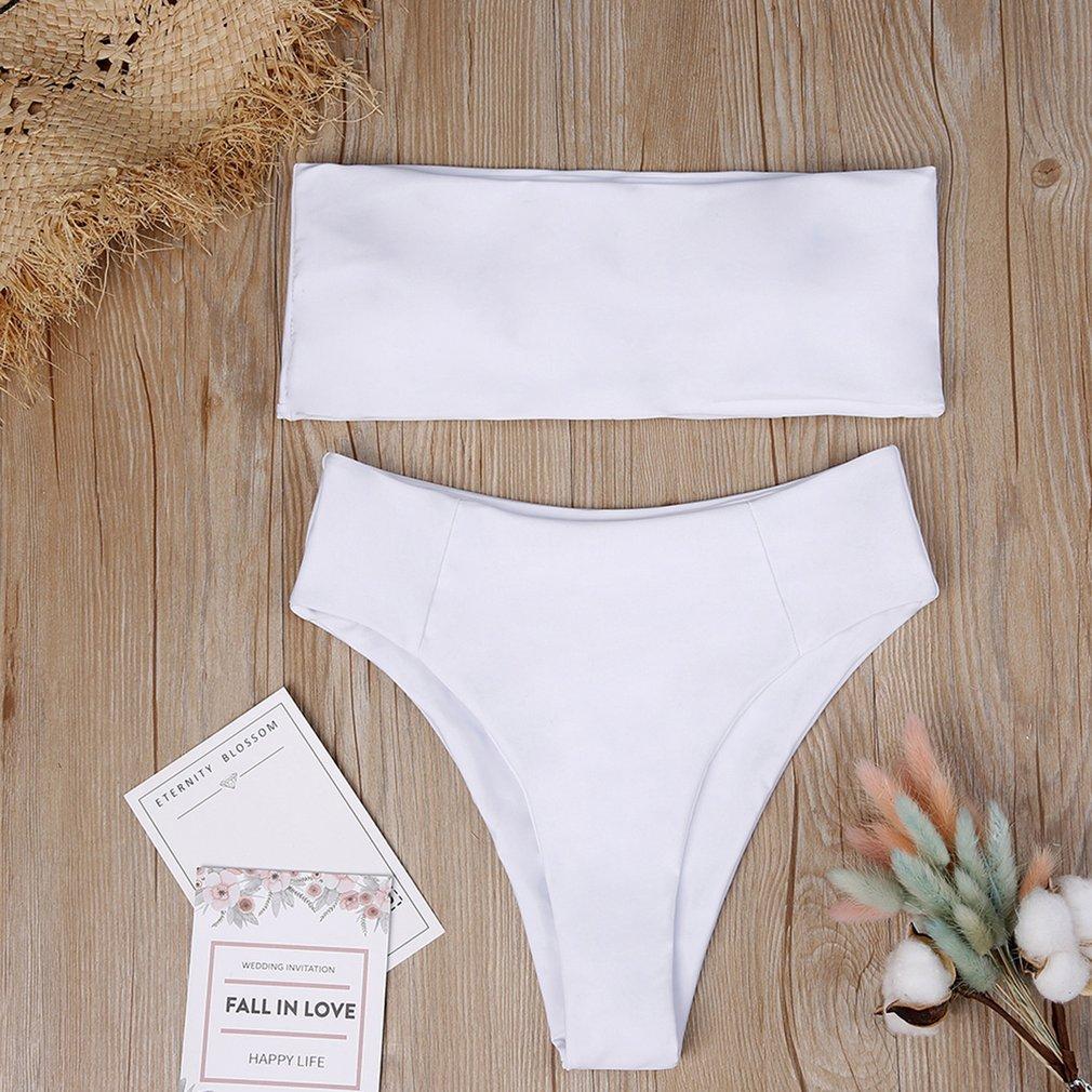 Women Two Piece Bikini Swim Suit Sexy Solid Color Tops + High-waist Panties