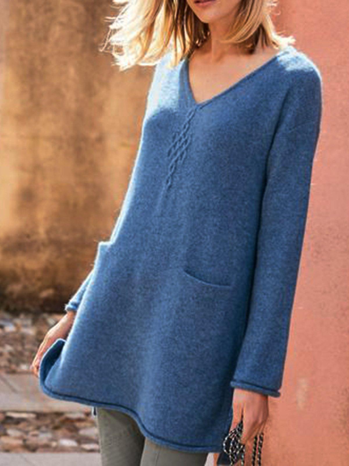 Blue Plain Casual Sweater
