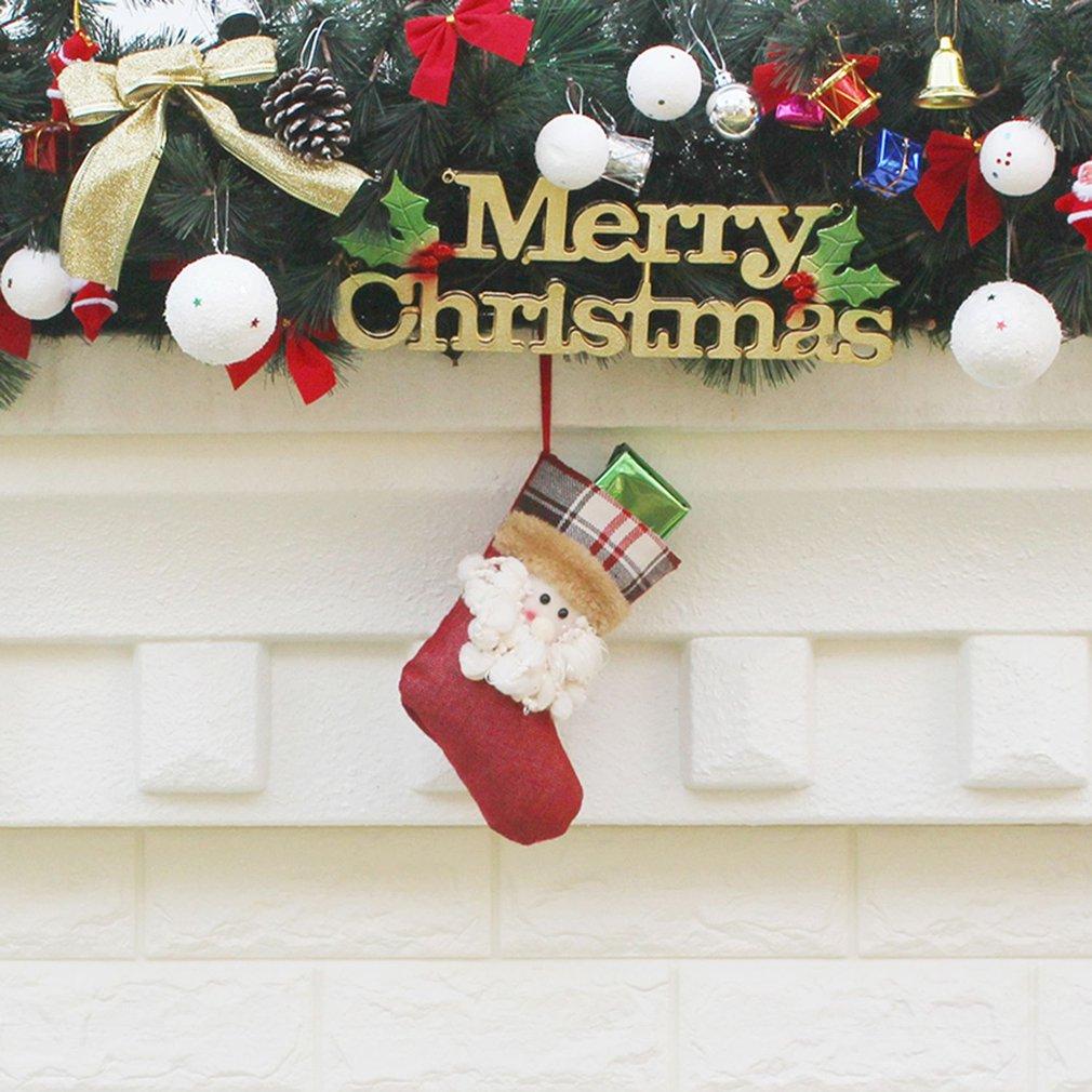 Christmas Tree Ornaments Supplies Non-Woven Fabric Sock Shape Gift Bag