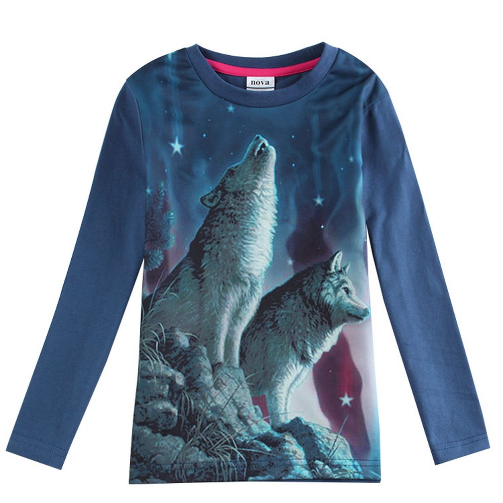 Soft Blue Children Boys 3d Cool Two Wolf Printed Kids Animal T Shirts