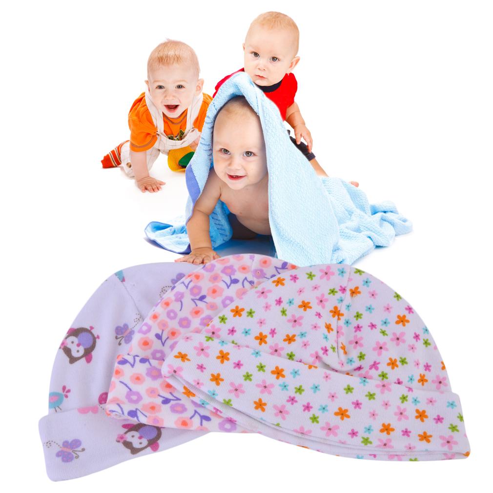 3PCS Unisex Cotton 0-3 Months Newborn Photography Props Boy Girl Hat Set