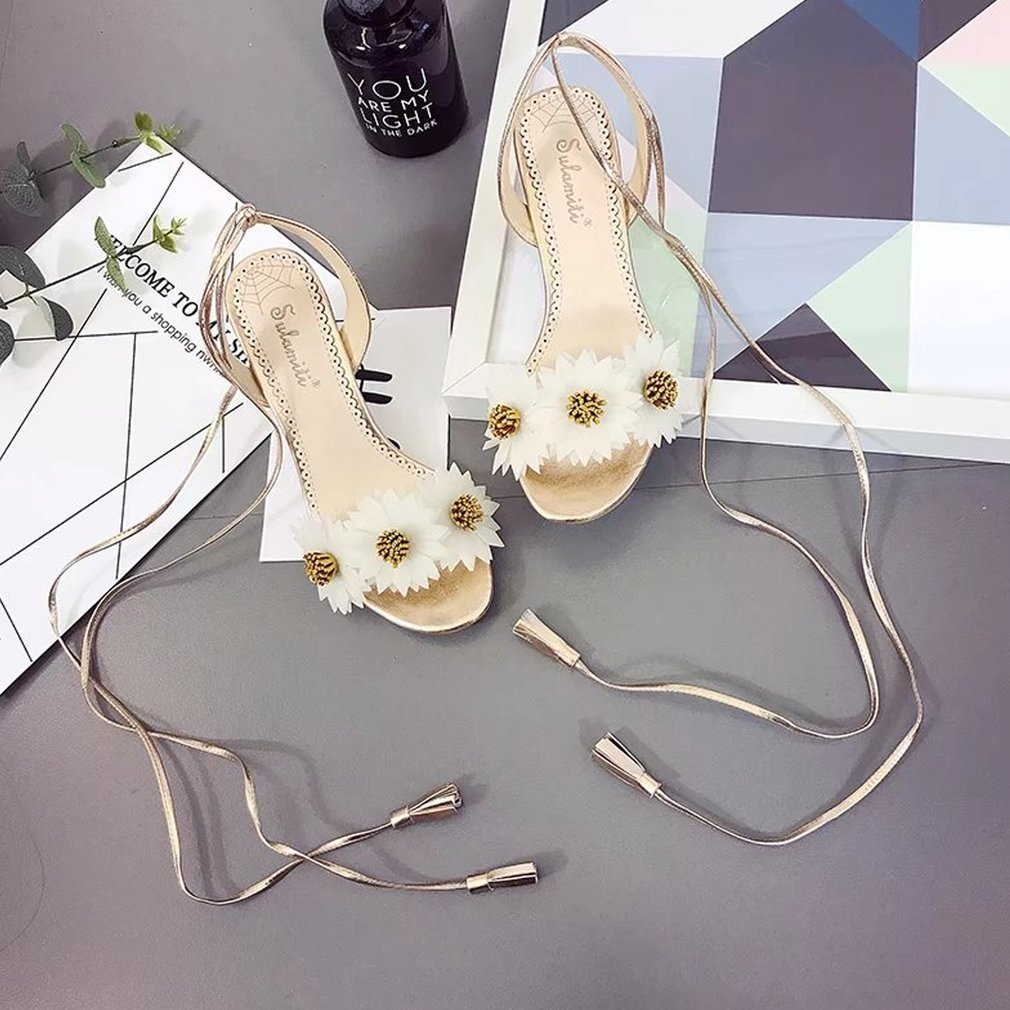 Fashion Summer Sandals Open-toed Chunky Heel High Heel Lace up Sandals with Flower Decor Sweet Elegant Women Shoes
