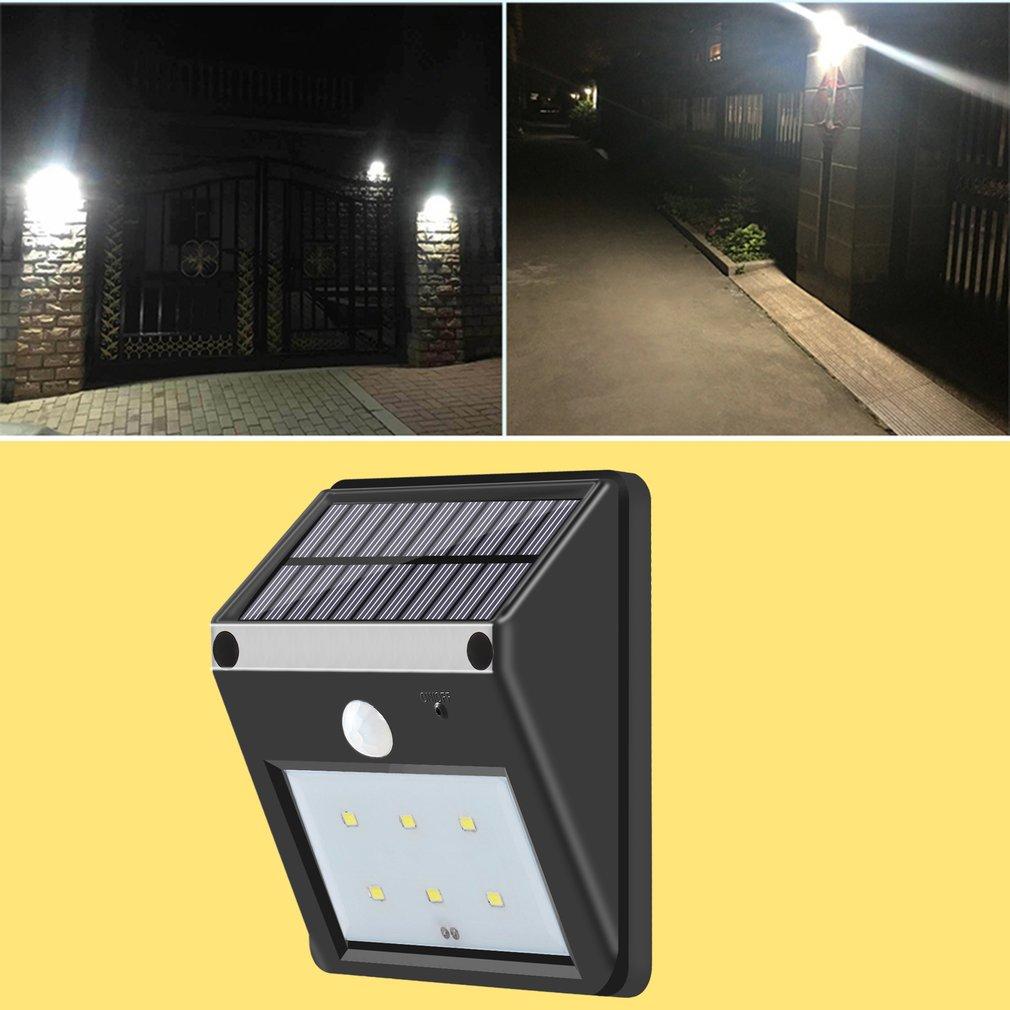 6-LED Solar Power PIR Motion Sensor Wall Light Outdoor Waterproof Garden Lamp