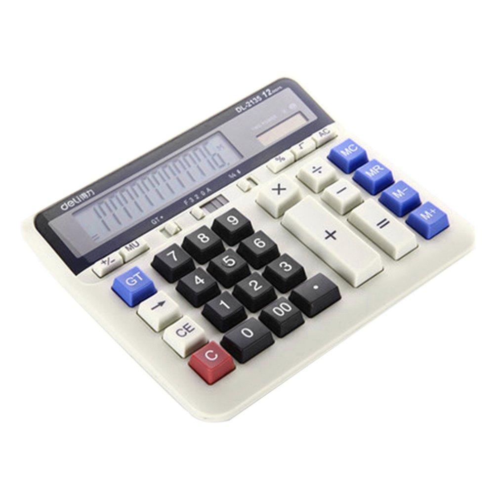 Deli 2135 Desktop Calculator Dedicated Office Calculator Solar Dual Power