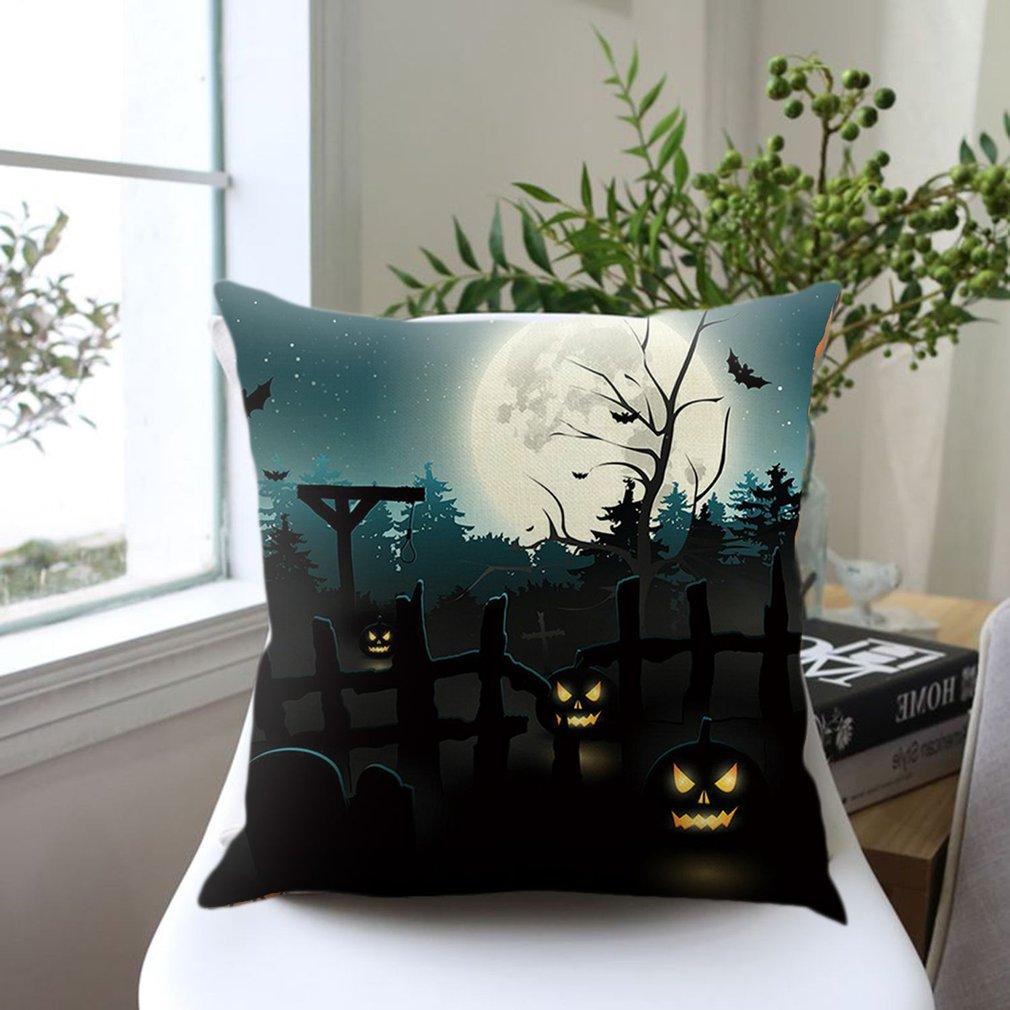 Halloween Pumpkin-Printed Cushion Cover Cotton Linen Car Home Pillow Case