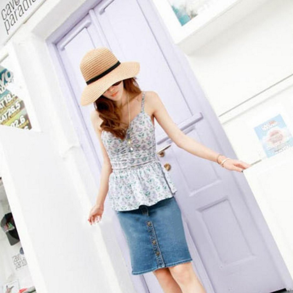 Women Straw Hat Summer Sun Hat With Bowknot Wide Brim Floppy Leisure Beach Hat