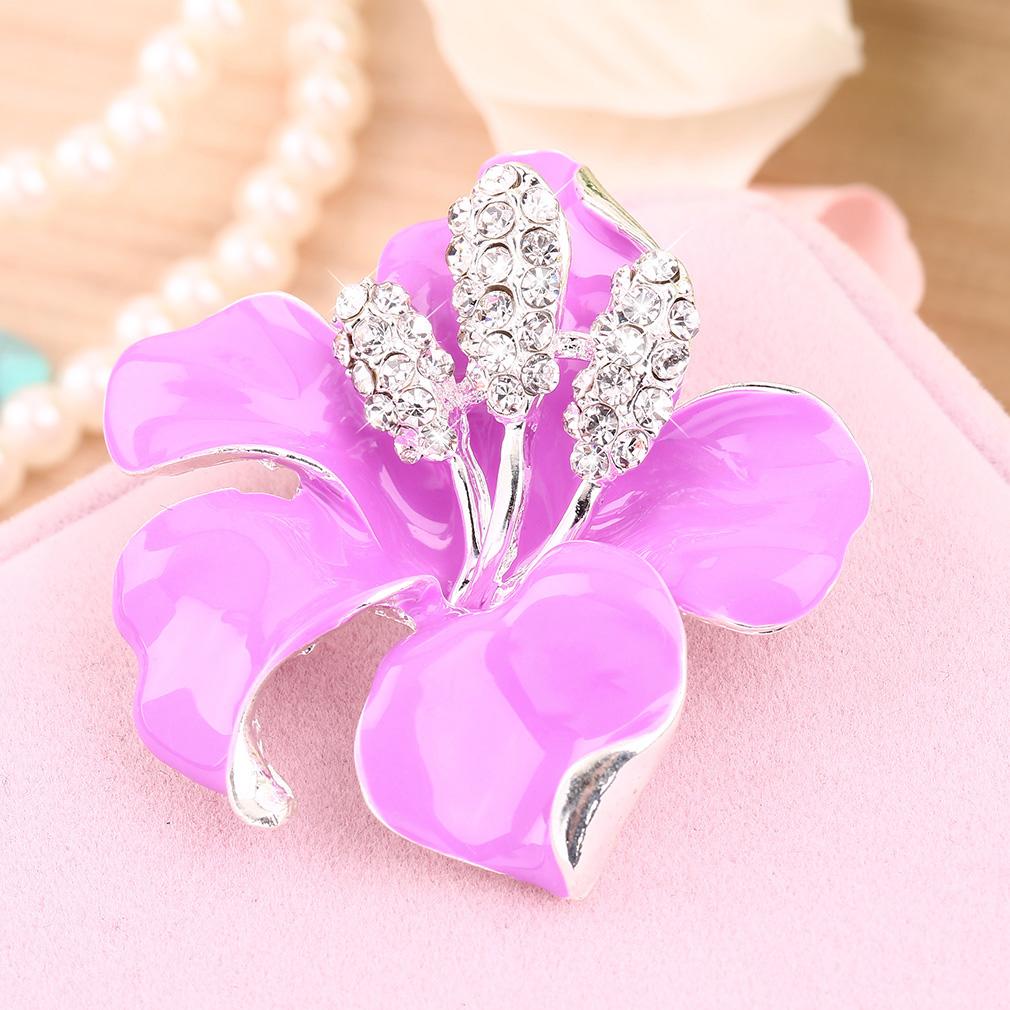 Women Lady Rhinestone Wedding Party Bridal Rose Flower Dress Brooch Pins