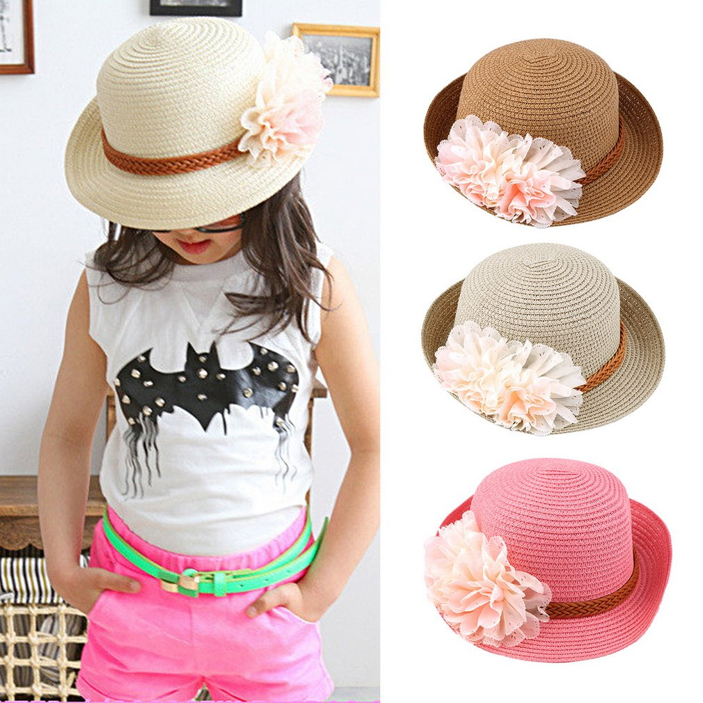 Korean Style Children Girl Flowers Straw Hat Outdoor Travel Beach Sun Hat