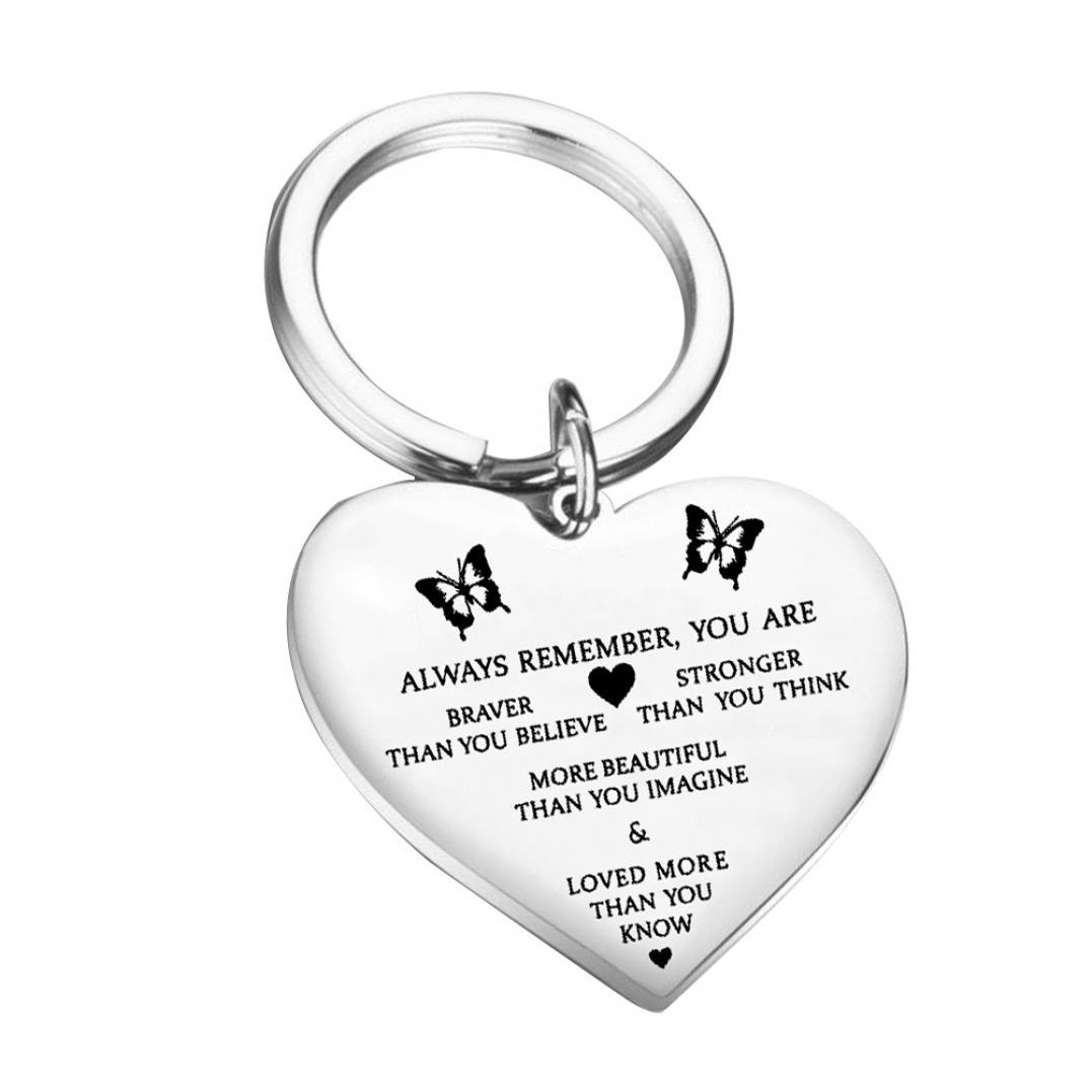 Always Remember You Are Braver Stronger Letter Heart Pendant Keychain Key Ring