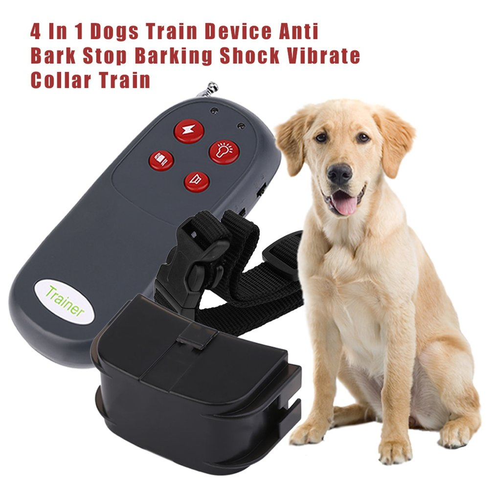 4 In 1 Dogs Train Device Anti Bark Stop Barking Long Distance Remote Trainer