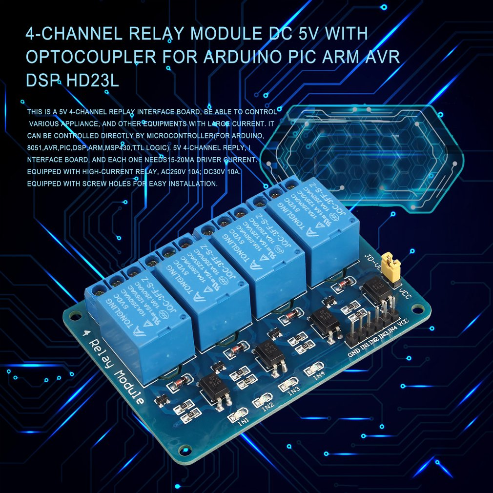 4-Channel Relay Module DC 5V With Optocoupler For Arduino PIC ARM AVR DSP HD23L