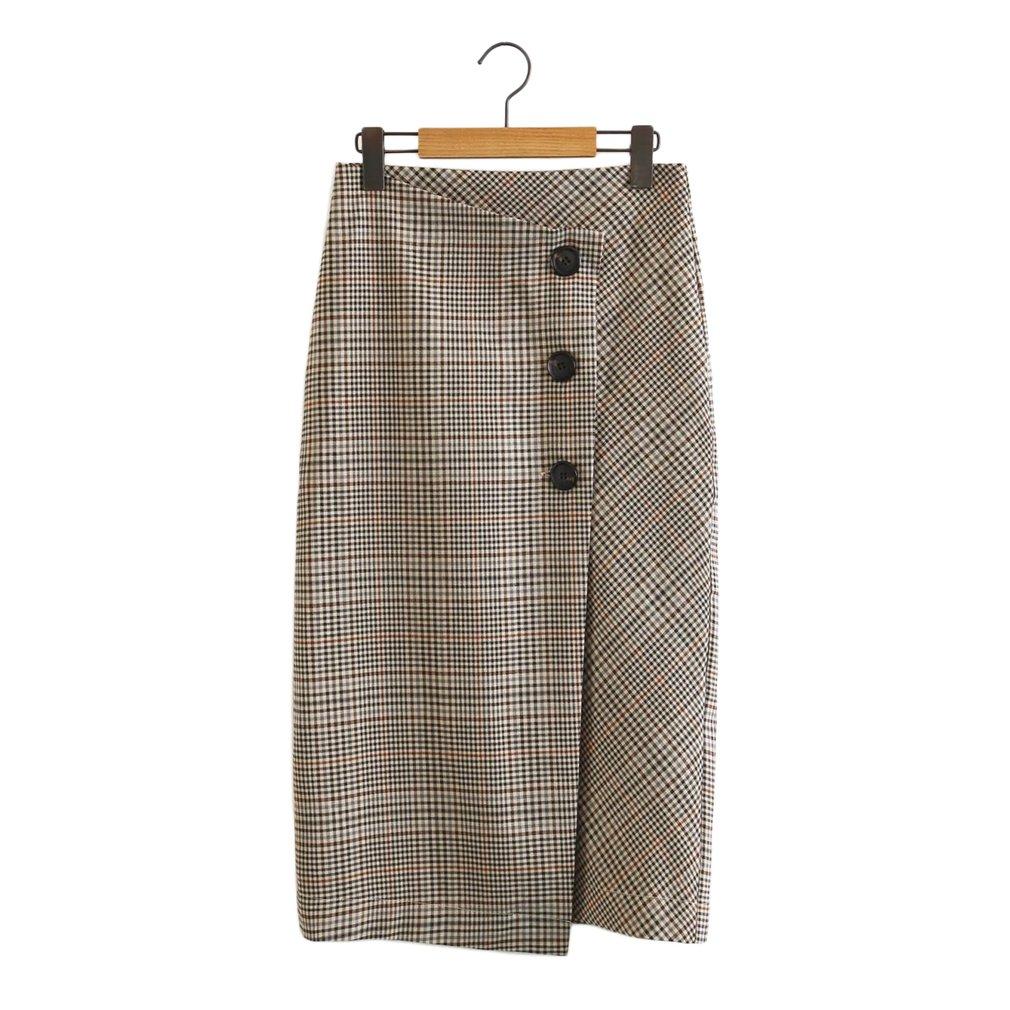 Fashion Women Skirt Single Breasted Skirt Slimming Plaid All-match Skirts