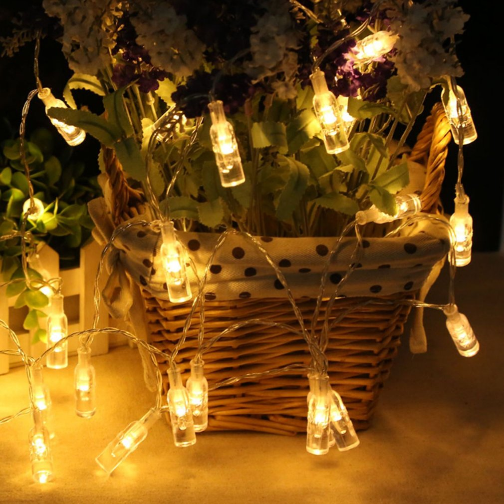 20 LED Wine Bottle-shaped Lights String Battery Powered Home Festival Decor