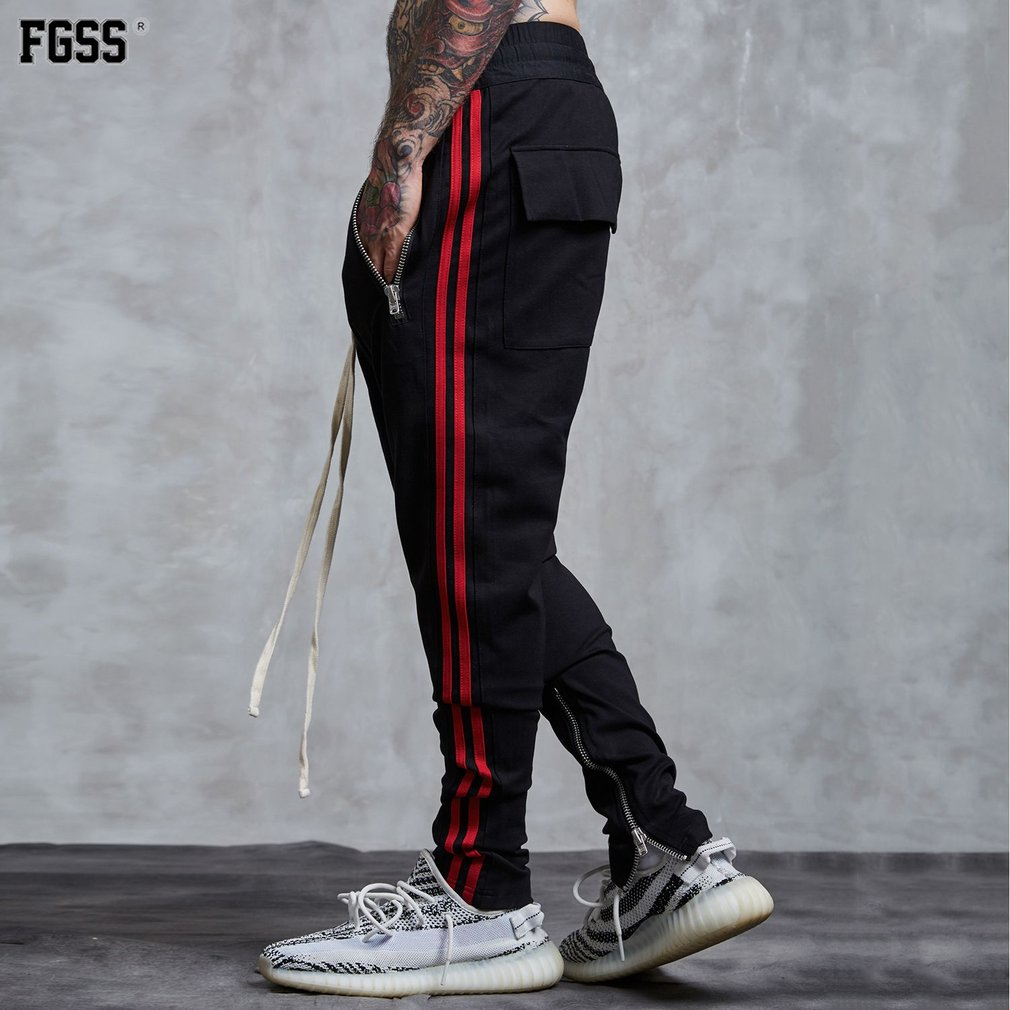 FORGIVENESS Men Casual Pants C568 Zipper Pockets And Foot Mouth Long Trousers