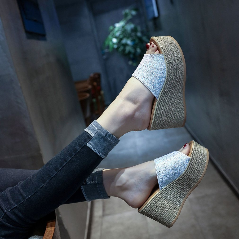 Fashion Sequins Sandals Slip-on Slippers For Ladies Women Platform Shoes Bohemian Style High Heels Casual Wear Summer Shoes
