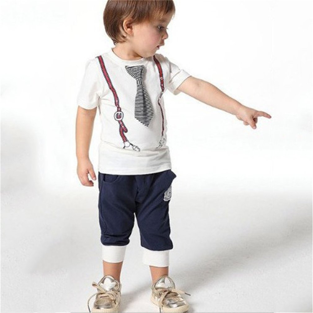 Cool Cotton Kids Baby Boys Tie Top T-Shirt+Short Pants Sets Sport Outfit 1-5Y