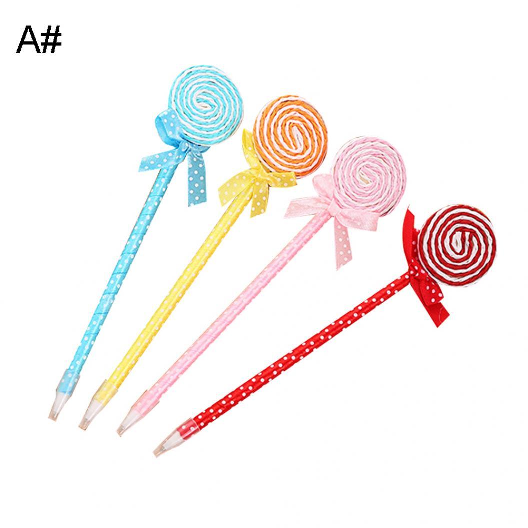 4Pcs Cute Lollipop Bow Gel Pen Students Writing Marker School Office Stationery