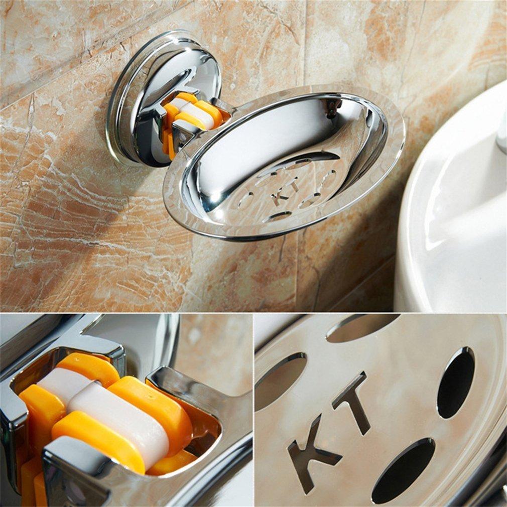 Suction Type Soap Rack Bathroom Toilet Soap Box Draining Storage Rack
