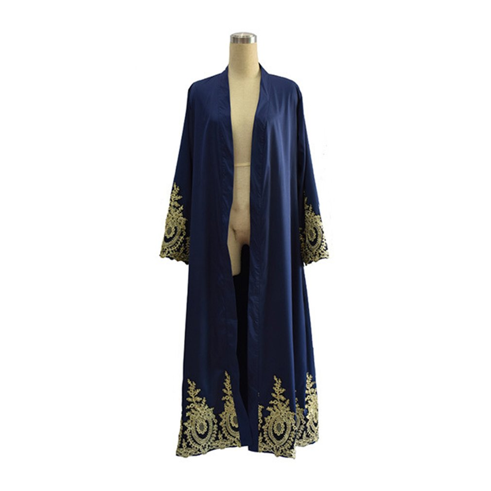 Arabic Dubai Women Clothing Full Length Loose Patchwork Muslim Abaya Modest Moslem Muslem Caftans Open Front Belted Long Robes