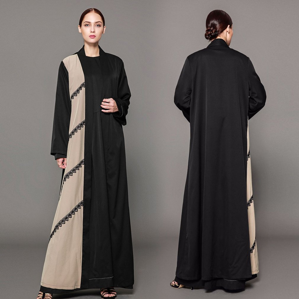 Fashionable Full Length Women Lace Splicing Muslim Abaya Muslem Caftans Open Front Belted Dress Long Robes Long Sleeved