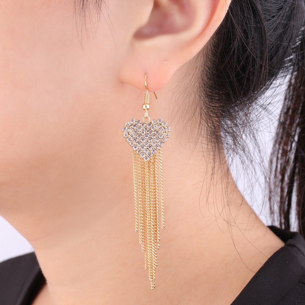 Women Jewelry Crystal Rhinestone Heart Tassel Dangle Earrings Ear Hook
